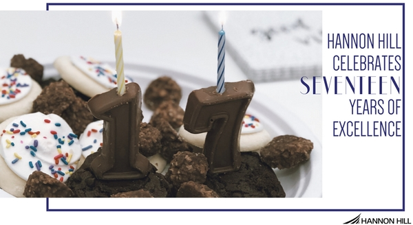 Blog banner cover image for Hannon Hill celebrating 17 years of excellence, plate with assorted desserts and candles