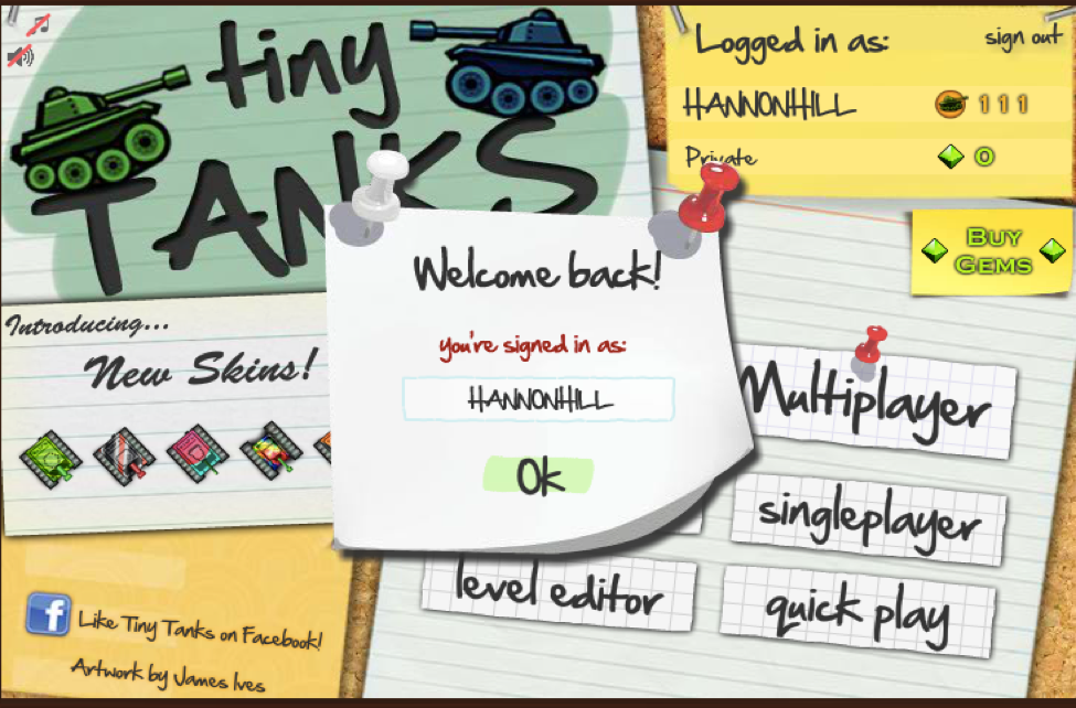Screenshot of sign-on page for Tiny Tanks computer game.