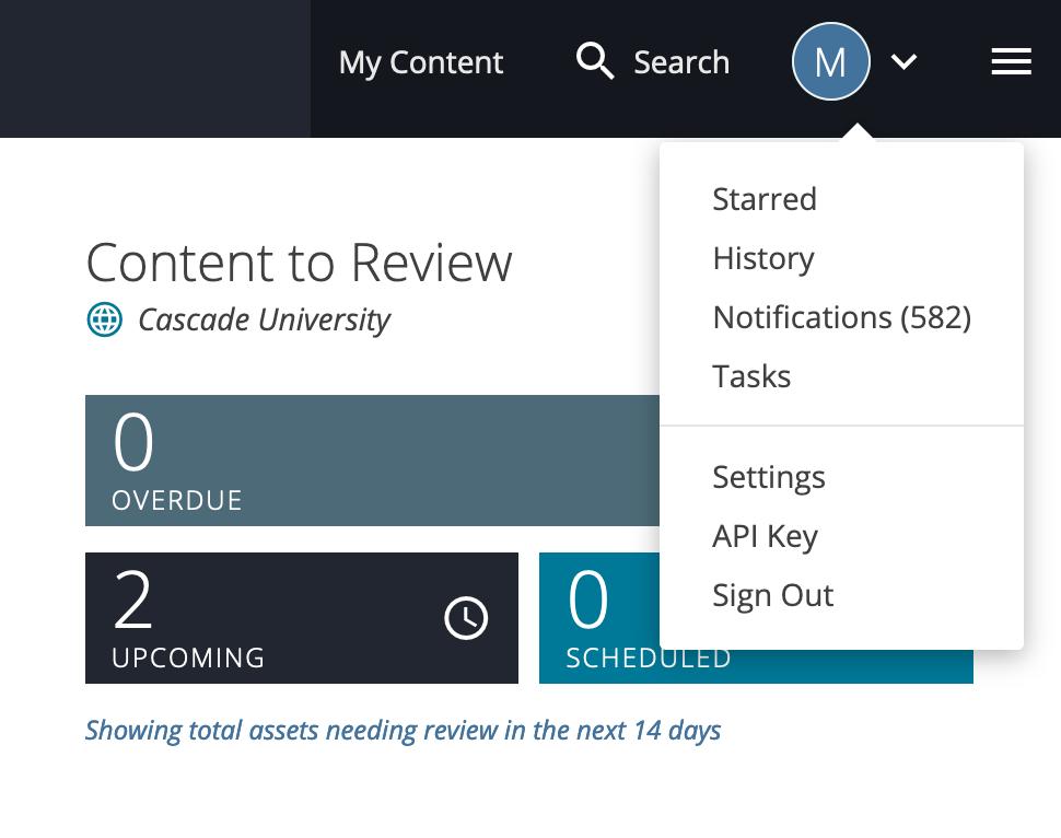 Screenshot demonstrating location of user menu
