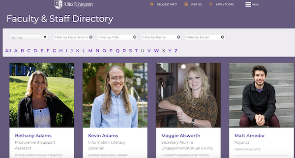 Alfred University's Faculty Directory