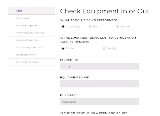 Equipment check-out app