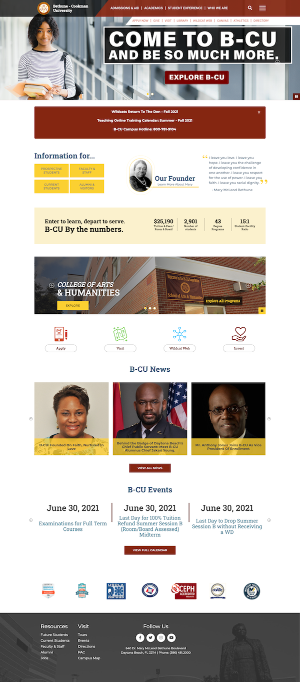 Bethune Cookman's home page