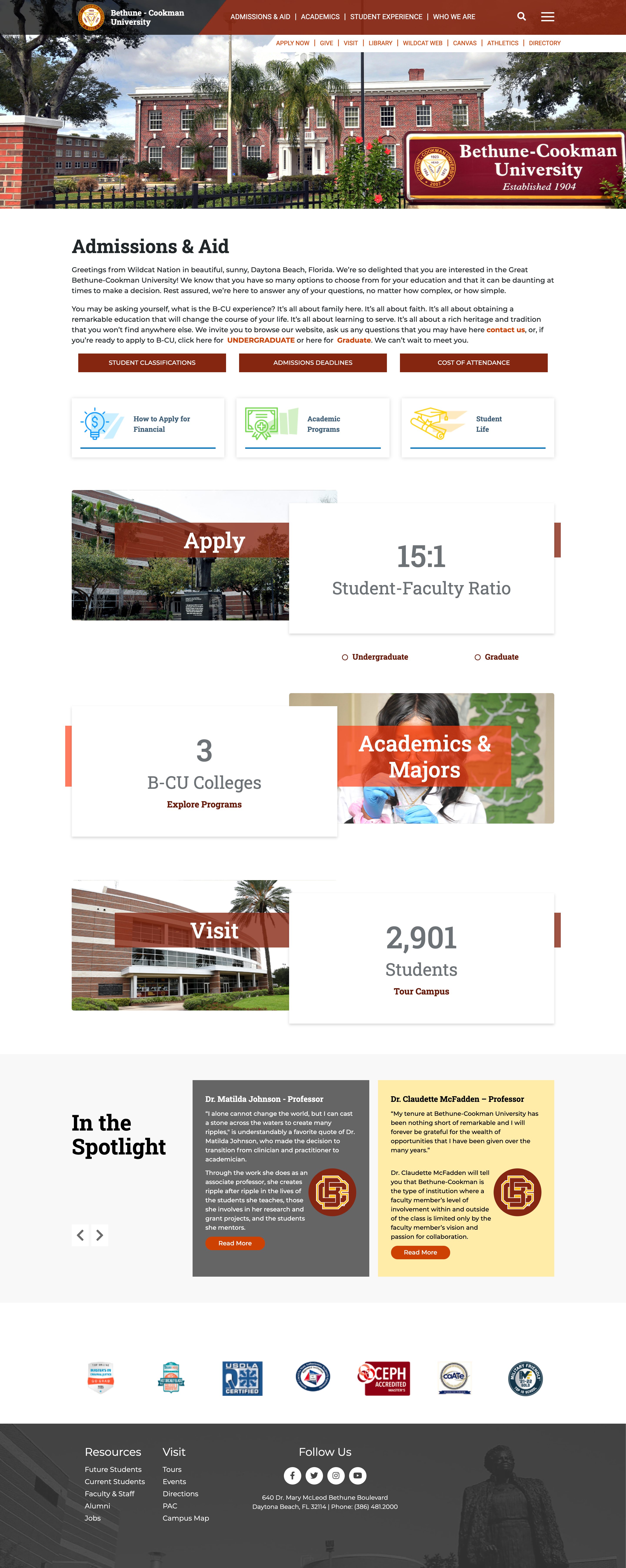 Bethune Cookman's interior page