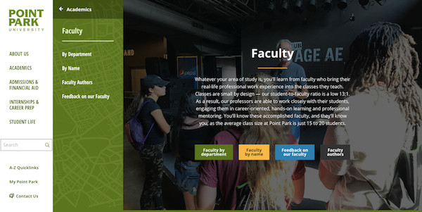 Faculty Landing page