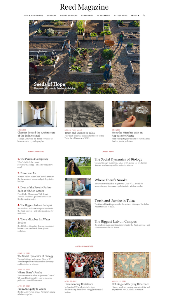 Reed College's homepage