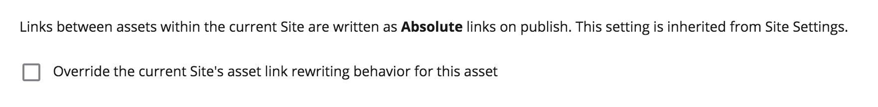 asset level link rewriting options