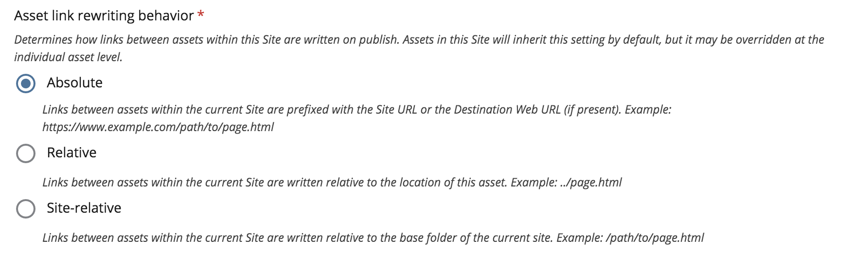 site level link rewriting options