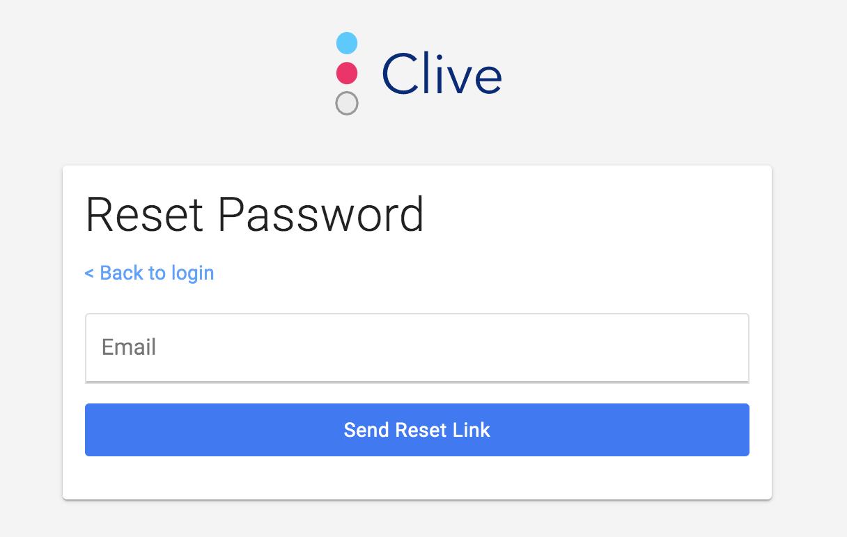 Clive reset password screen