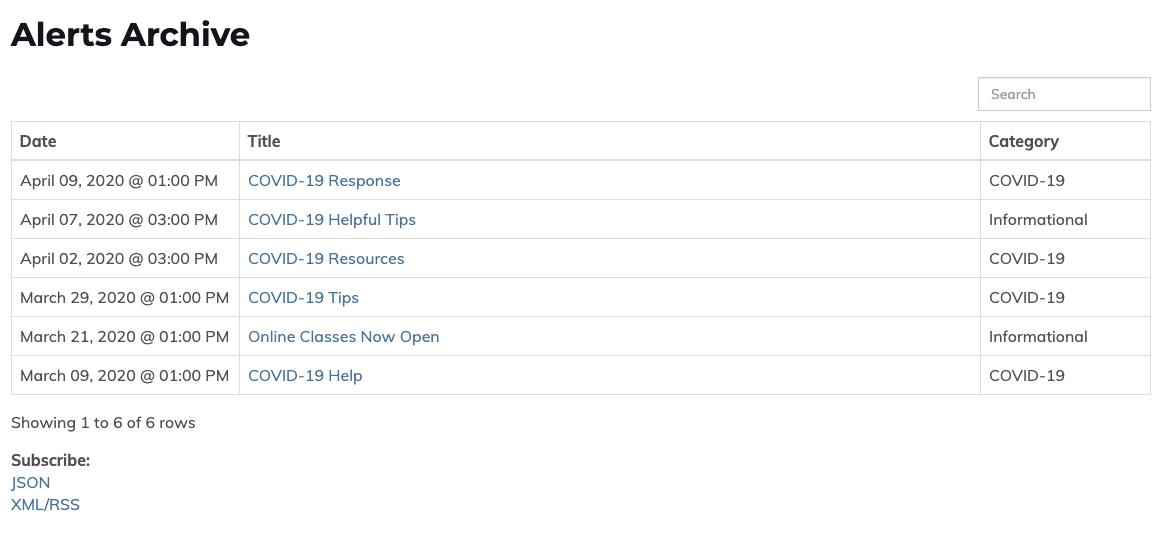 screenshot of alert archive