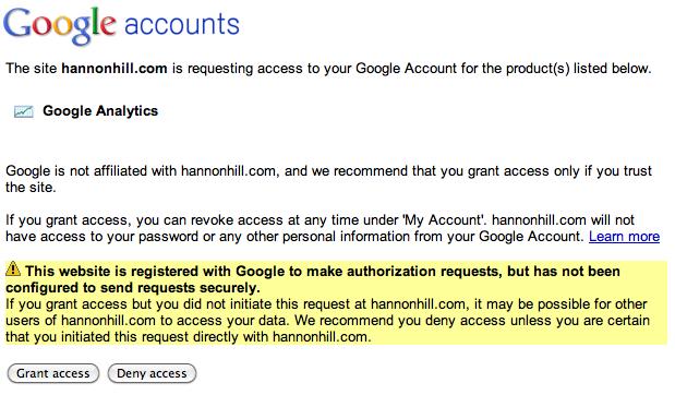 Google verification screen.